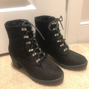 Faux Suede Laceup Combat Booties